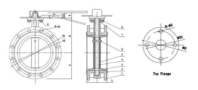 Manual Flanged Butterfly Valve drawing