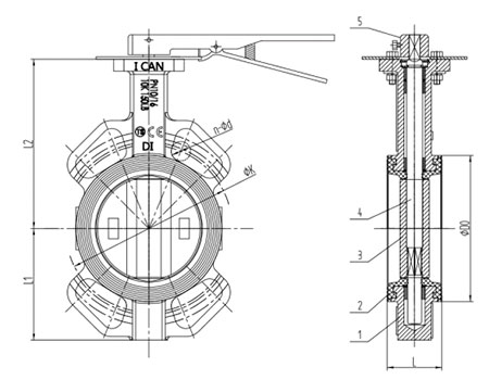 Wafer Butterfly Valve With Handle