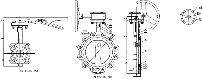 Gear Operated Lug Butterfly Valve drawing