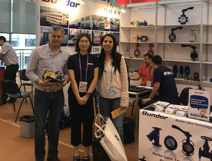 A pair of Turkish couples came to the Bundor booth with their younger sons.